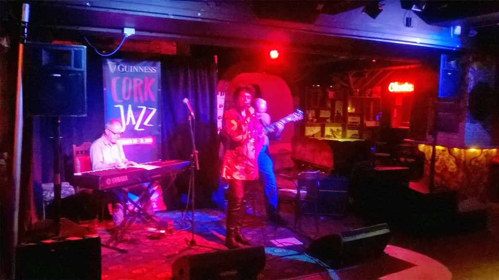 Manon performing open mic at Cork Jazz festival